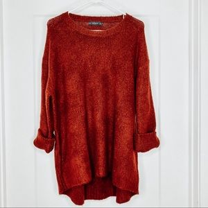 Zara Chunky Pullover Long Red Tunic Sweater